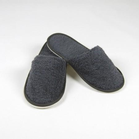 Zapatillas gris antracita de rizo algodón 100%