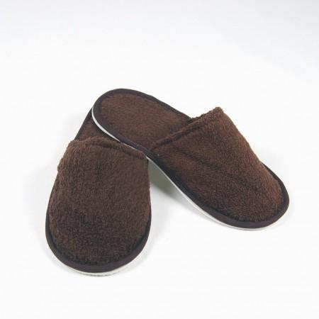 Zapatillas de rizo color chocolate algodón 100%