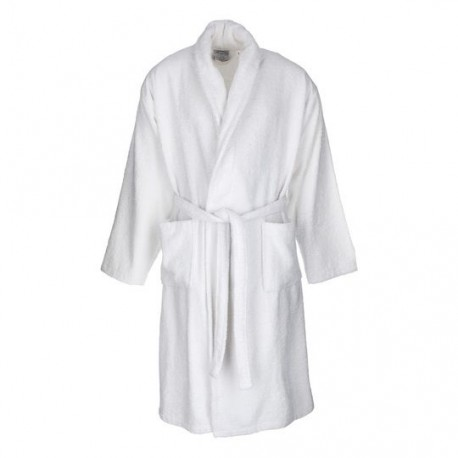 Albornoz baño blanco liso adulto de algodón 100%