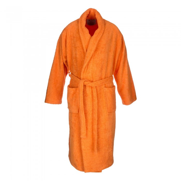 Orange adult bathrobe made from 100% cotton