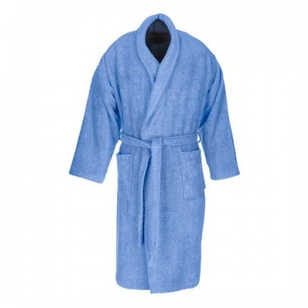 Blue adult bathrobe made from 100% cotton