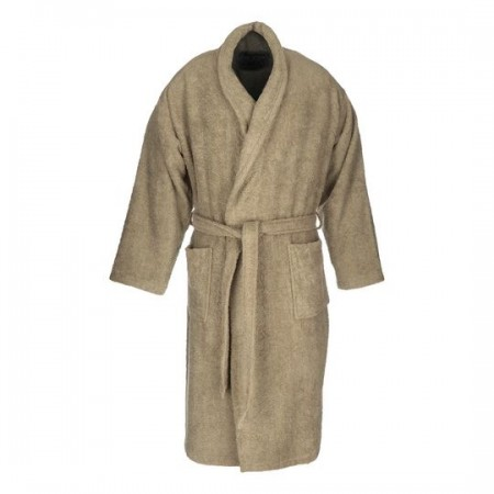 Beige adult bathrobe made from 100% cotton