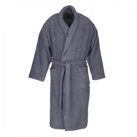 Albornoz baño gris oscuro liso adulto de algodón 100%