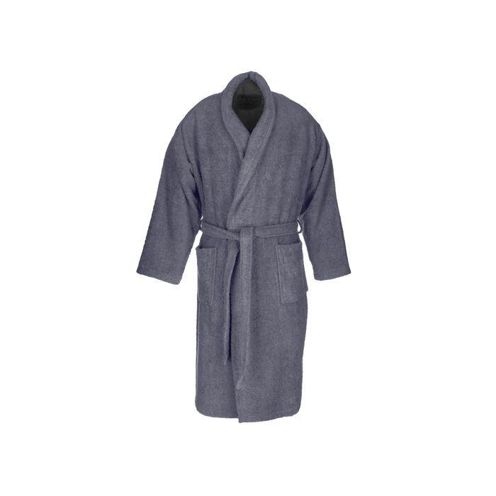 Dark grey terry adult bathrobe made from 100% cotton