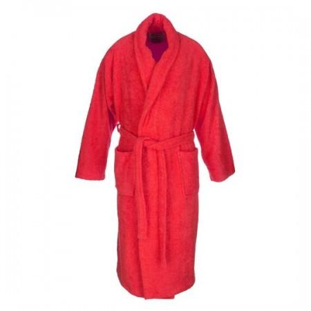 Albornoz baño rojo liso adulto de algodón 100%