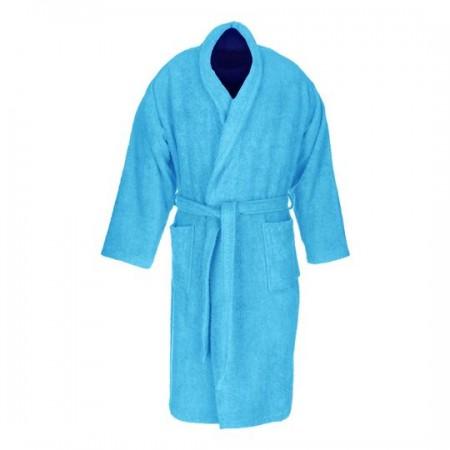 Albornoz baño azul liso adulto de algodón 100%