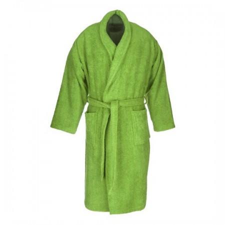 Albornoz baño verde liso adulto de algodón 100%