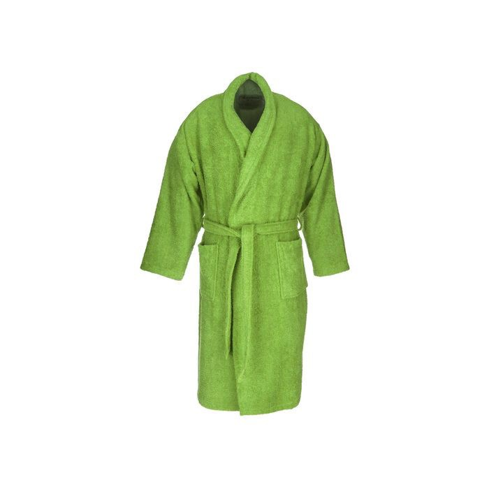 Green adult terry bathrobe made from 100% cotton