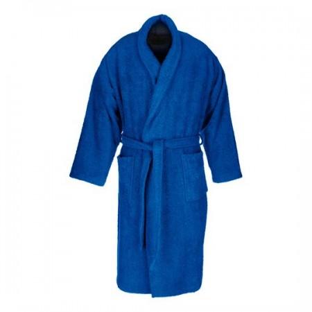 Albornoz baño azul oscuro liso adulto de algodón 100%