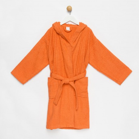 Albornoz niño naranja con capucha algodón 100%