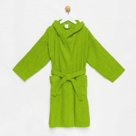 Albornoz niño verde con capucha algodón 100%