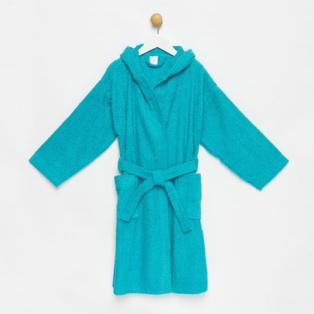 Albornoz niño azul turquesa con capucha algodón 100%