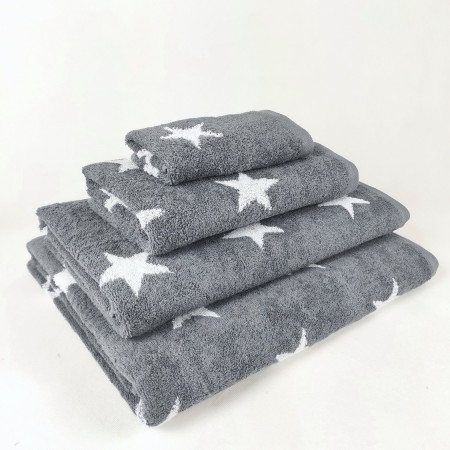 Dark Grey Bath Towel design Stars made from 100% cotton