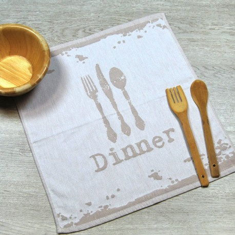 Beige kitchen towel made from 100% cotton