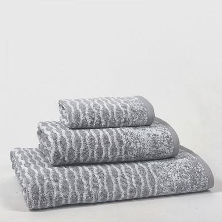 Juego de toallas gris Waves de algodón 100%