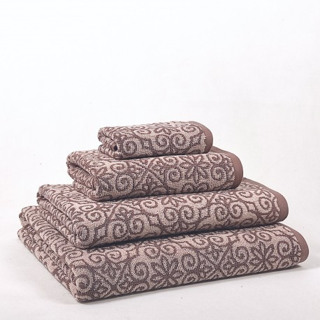 Brown and Beige Bath Towel design Alhambra made from 100% cotton