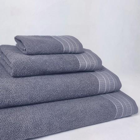 Toalla de baño gris Rachel de algodón 100%