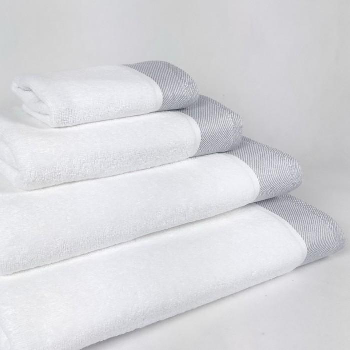 Toalla de baño gris Eternity de algodón 100%