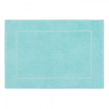 Tapis de bain bleu céladon uni 100% coton