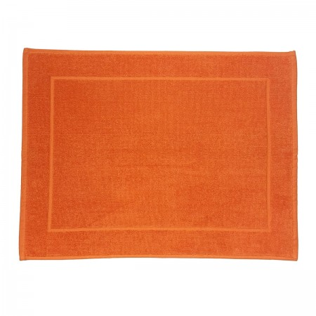 Tapis de bain orange uni 100 % coton