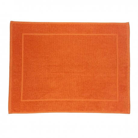 Orange bath mat made from 100% cotton