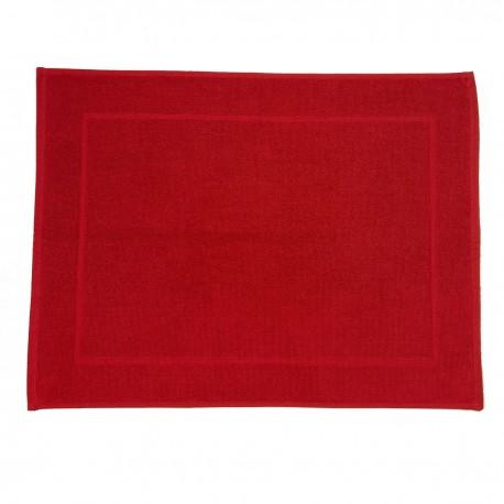 Tapis de bain rouge uni 100% coton