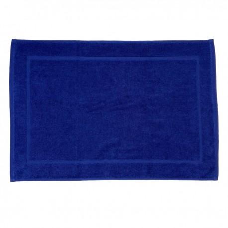 Tapis de bain bleu nautique uni 100% coton