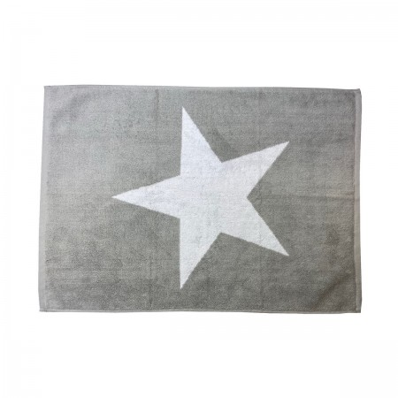 Silver Grey bath mat Star made from 100% cotton