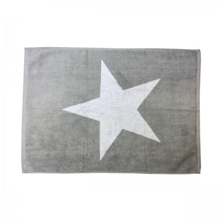 Tapis de bain gris argent à motif 100% coton