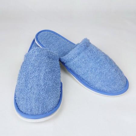 Zapatillas baño azul mar de rizo algodón 100%