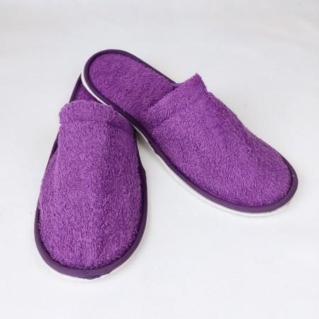 Zapatillas baño moradas de rizo algodón 100%