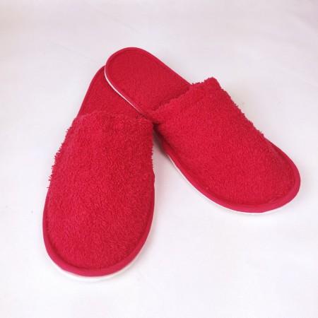 Zapatillas baño color rojo de rizo algodón 100%