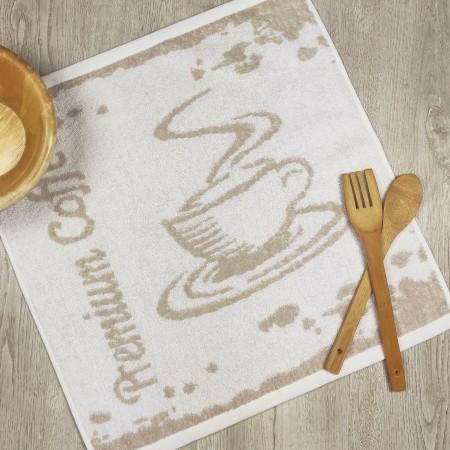 Torchon de cuisine beige en tissu-éponge 100 % coton