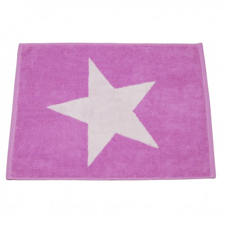 Lilac bath mat Stars made from 100% cotton