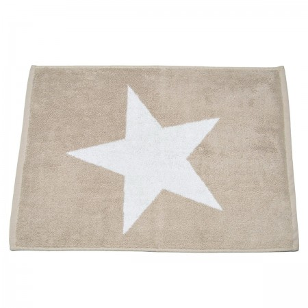 Beige bath mat Stars made from 100% cotton