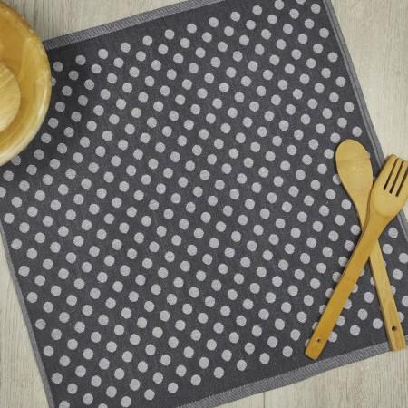 Torchon de cuisine gris anthracite en tissu 100 % coton