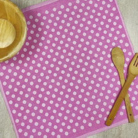 Torchon de cuisine fucshia en tissu 100 % coton
