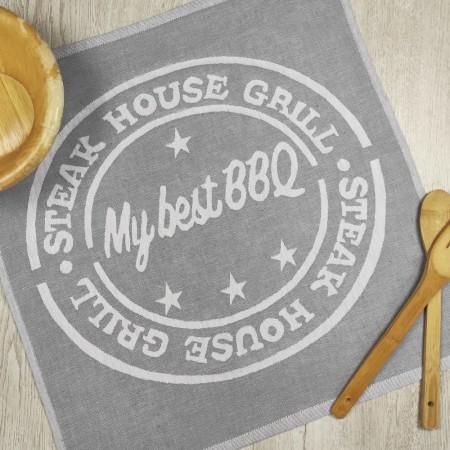 Torchon de cuisine gris en tissu 100 % coton
