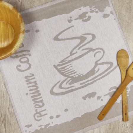 Torchon de cuisine beige en tissu 100 % coton