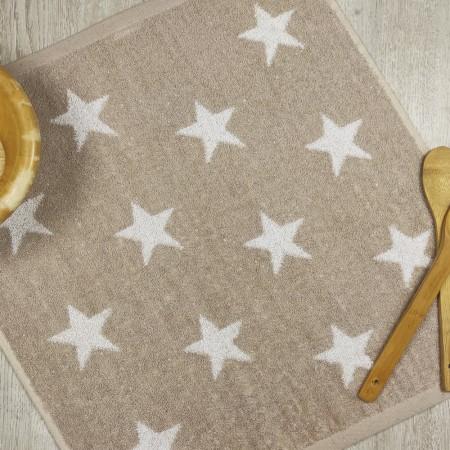 Torchon de cuisine beige en tissu-éponge 100% coton
