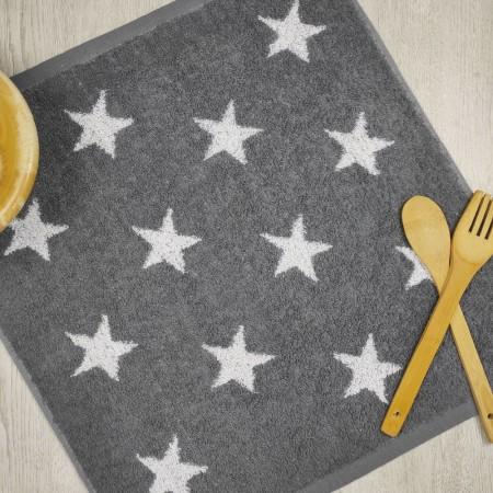 Torchon de cuisine gris anthracite en tissu-éponge 100% coton