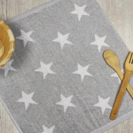 Torchon de cuisine gris en tissu-éponge 100 % coton