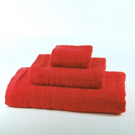 Lot de serviettes rouge uni 100 % coton
