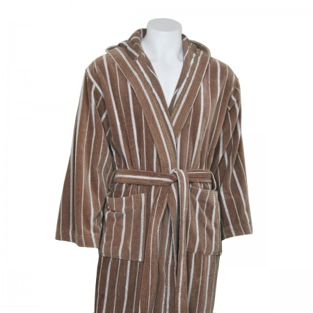 Beige Velour Bathrobe made from 100% cotton