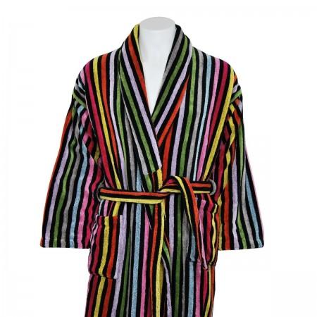 Albornoz de terciopelo multicolor a rayas de algodón 100%