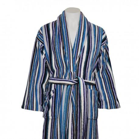 Albornoz de terciopelo azul y blanco rayas de algodón 100%