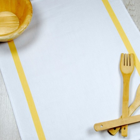 Yellow and white kitchen towel made from 100% cotton