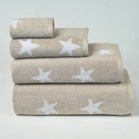 Serviette de bain beige à motif Stars 100% coton