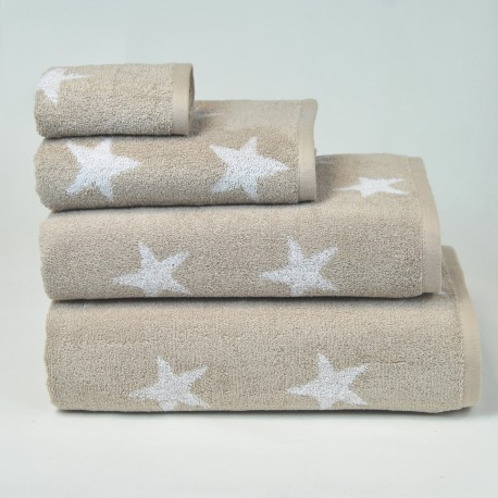 Beige Bath Towel design Stars made from 100% cotton