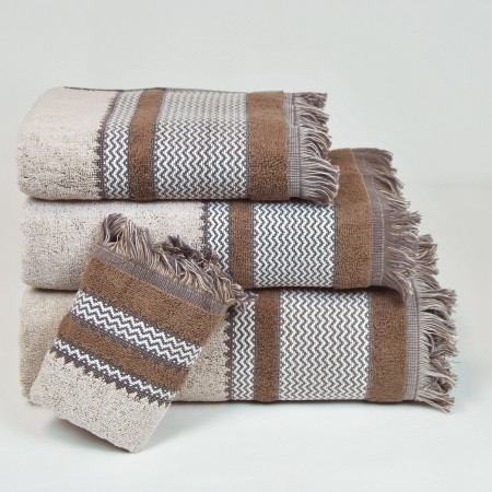 Beige Bath Towel design Flecos made from 100% cotton